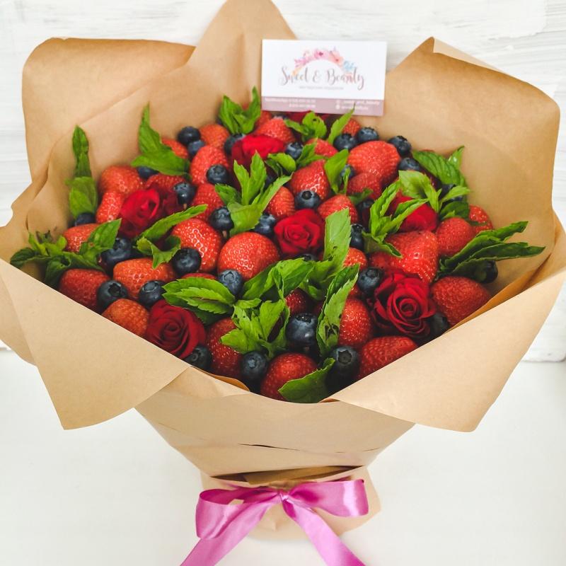 Букеты с фруктами и цветами фото как сделать 175