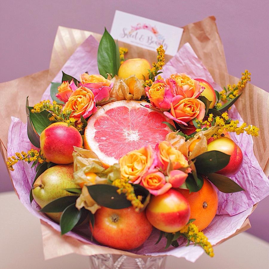 Букеты с фруктами и цветами фото как сделать 604