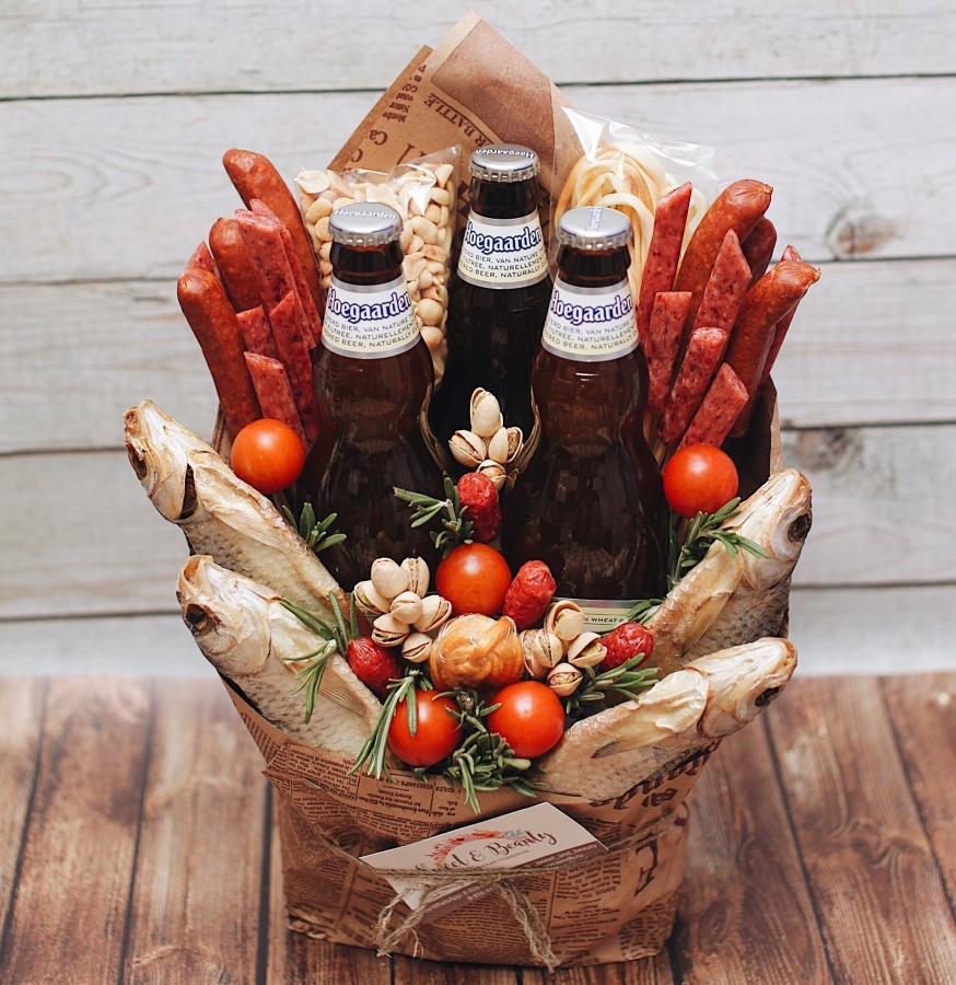 Мужской букет из пива и колбасок своими руками